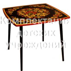 "Стол квадратный ""Осень2"" (Square table ""Autumn"" with khokhloma painting , height 580)"